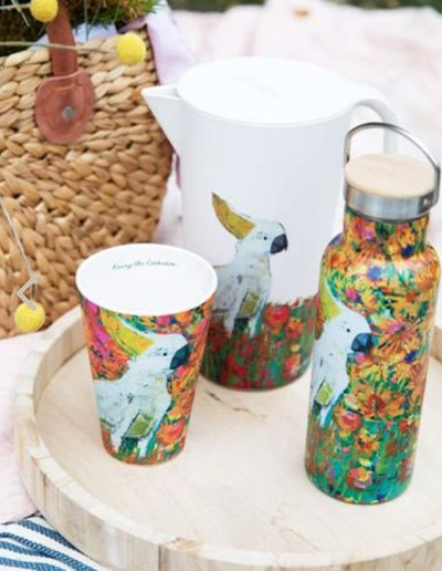 Cockatoo drink bottle, cup and jug in a picnic setting