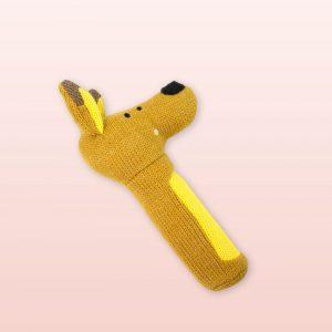 Knitted kangaroo baby rattle