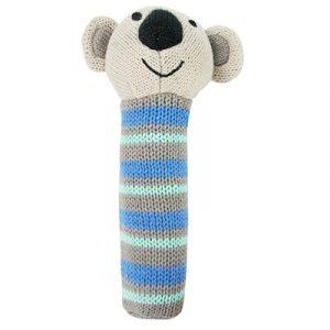 Koala blue knitted hand rattle
