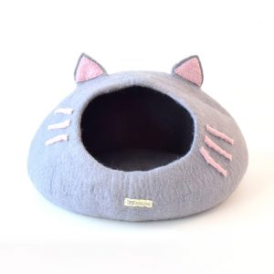 Felt Cat head cat cave in light grey