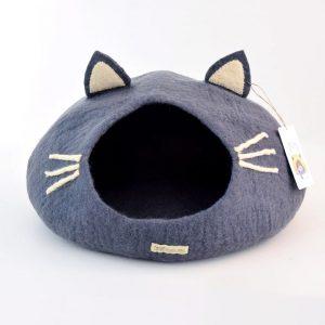 Felt cat cave. Dark grey cat head shape