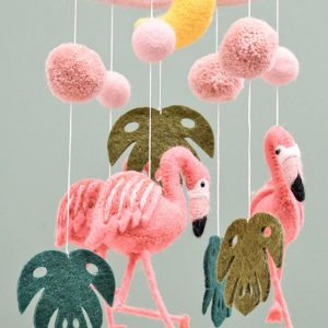 Felt pink flamingo nursery mobile
