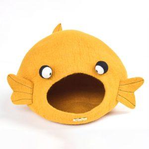 Yellow felt cat cave. Goldfish shape