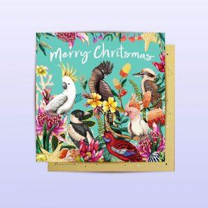 Australian birds Mini Christmas Card