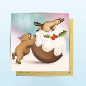 Mini Christmas cards with wombat and platypus
