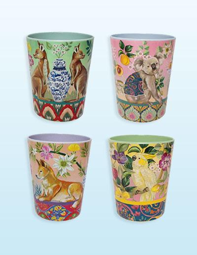 Serendipity design cups set of 4