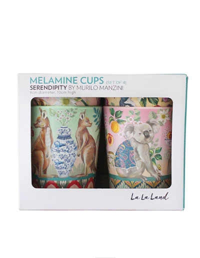Serendipity design cups set of 4 in a gift box