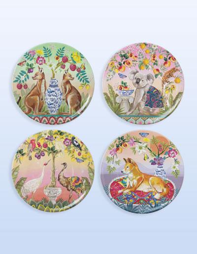 Serendipity design plate set of 4